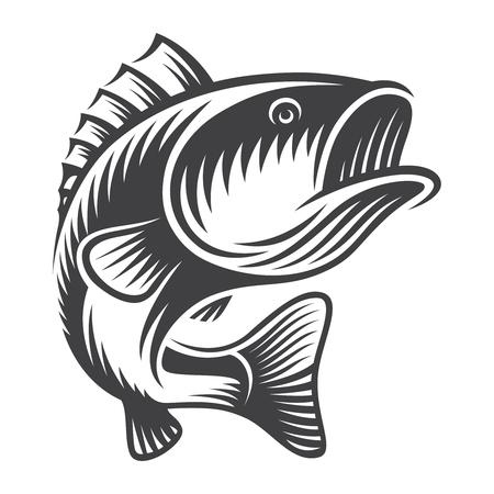 Concept de poisson de basse vintage Vecteurs