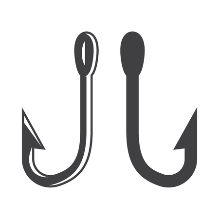 Monochrome metal fishing hooks template