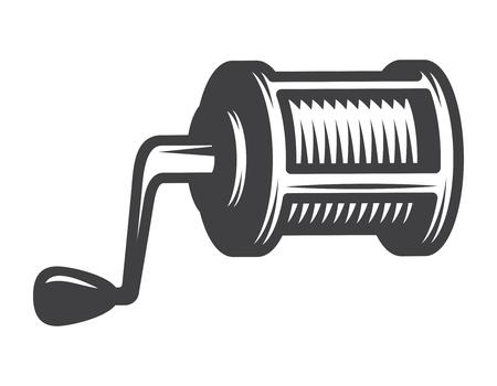 Vintage monochrome fishing reel concept Illustration