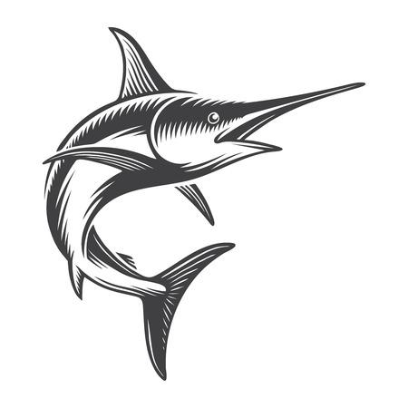 Vintage ocean swordfish concept Illustration