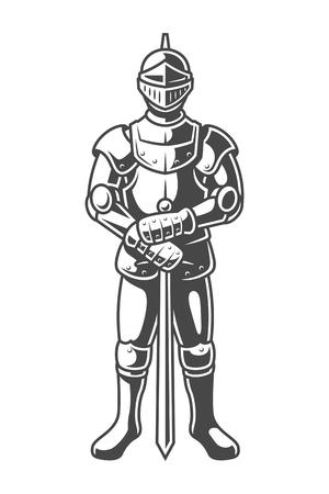 Vintage gepantserde middeleeuwse ridder concept Vector Illustratie