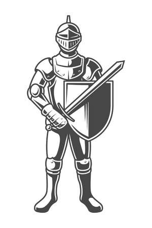 Vintage monochrome brave knight Stock Illustratie
