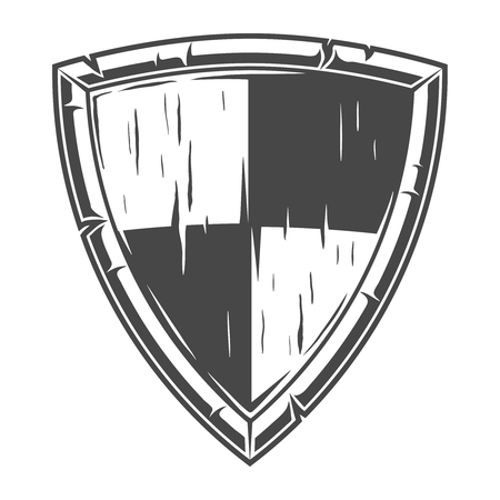 Monochrome knight wooden shield concept Illustration