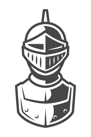 Knight metal helmet front view template Illustration