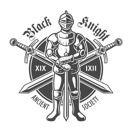 Vintage armored medieval knight Illustration