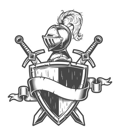 ヴィンテージ中世騎士のエンブレム 写真素材 - 105268790