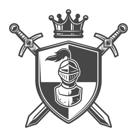 Escudo de armas de caballero monocromo vintage Ilustración de vector