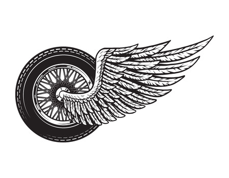 Vintage winged motorcycle wheel concept