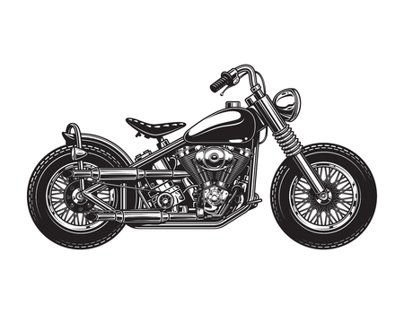 Vintage chopper motorcycle side view template