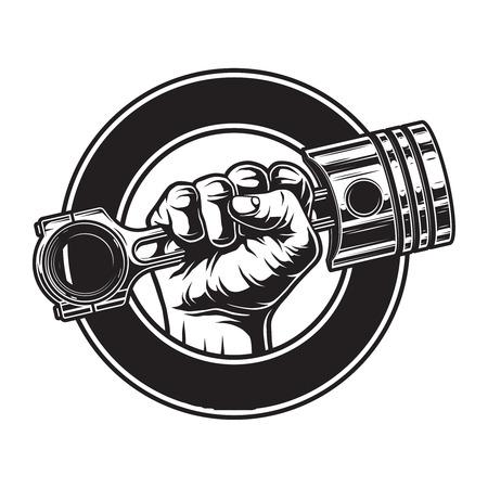 Etiqueta de motocicleta monocromática vintage