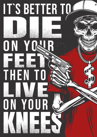 gangsta poster with skeleton Stock Photo