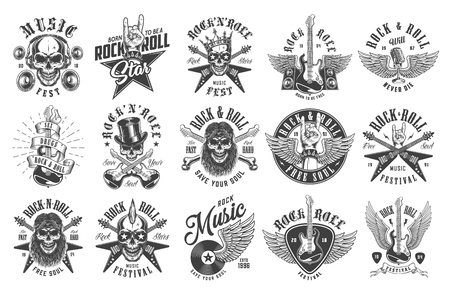 Rock and roll emblems Standard-Bild - 104980997
