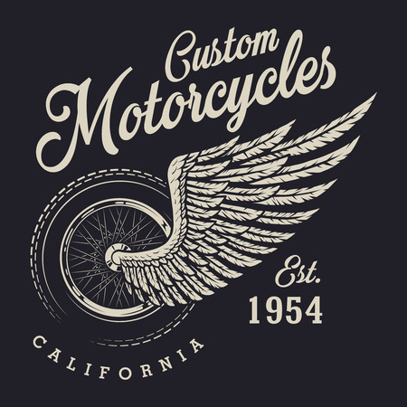 Vintage custom motorcycle logo Imagens