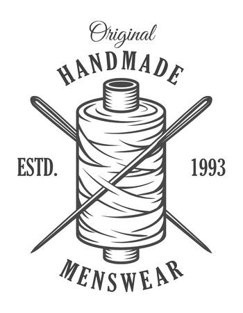 Vintage monochroom kleermaker embleem Vector Illustratie