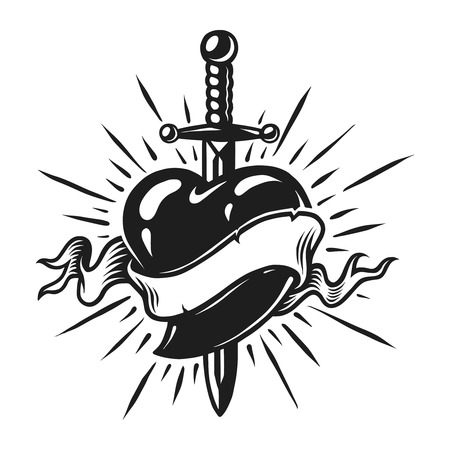 Vintage dagger in heart concept
