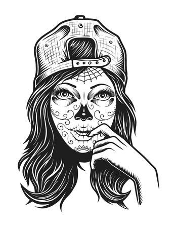 Vintage dead girl concept 일러스트