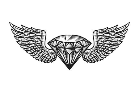 Monochrome winged diamond template