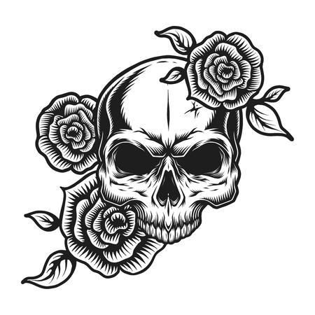 Vintage human skull tattoo concept Illustration