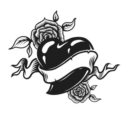 Concepto de tatuaje romántico monocromo vintage