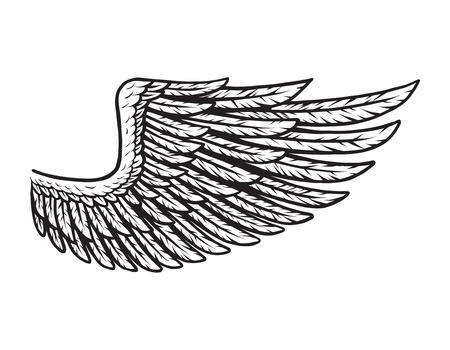 Vintage bird wing monochrome concept