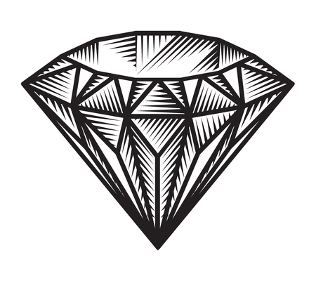 Vintage monochrome diamond concept Stock Illustratie