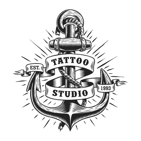 Vintage marine tattoo label 矢量图像
