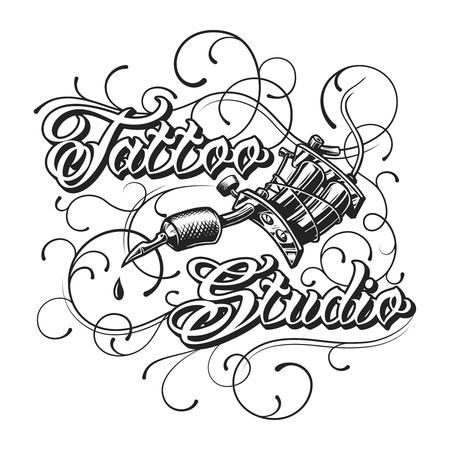 Elemento monocromo de estudio de tatuajes vintage Ilustración de vector