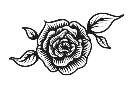 Vintage beautiful rose flower template