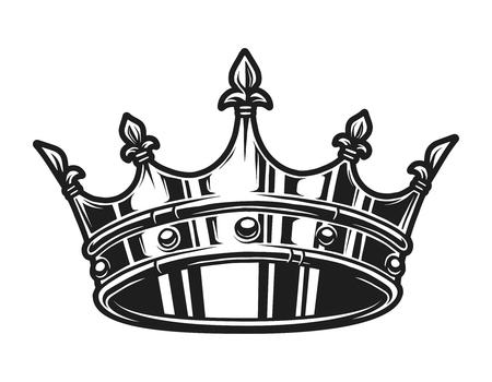 Plantilla de corona real monocromática vintage Ilustración de vector