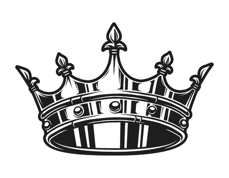 Vintage monochrome royal crown template