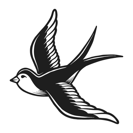 Vintage monochrome flying dove silhouette concept