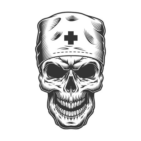 calavera en mascara de doctor Ilustración de vector