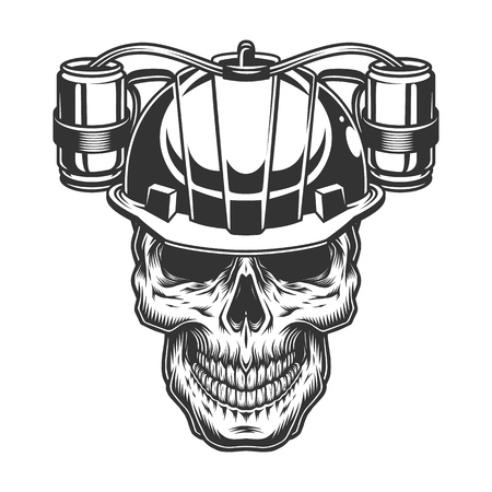 Skull in beer helmet. Vector vintage illustration