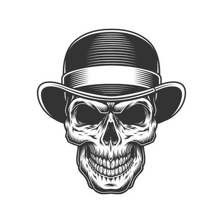 crâne dans le chapeau melon. Illustration vintage de vecteur Vecteurs