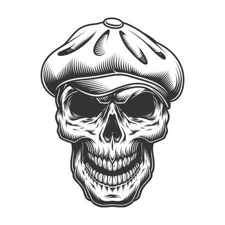 Skull in the tweed hat. vector vintage illustration