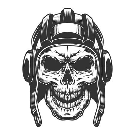Skull in the tank helmet. Vector vintage illustration