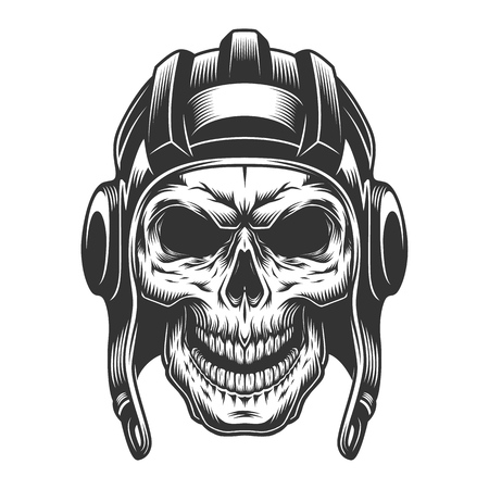 Skull in the tank helmet. Vector vintage illustration