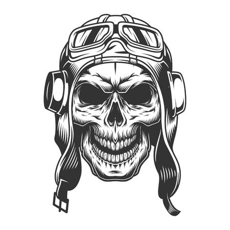Cráneo en el casco de piloto. Ilustración de vector vintage