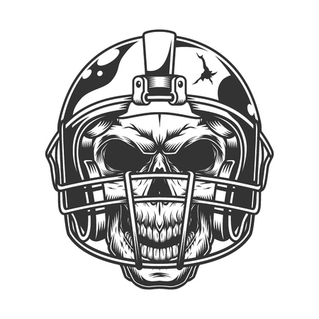 Skull in the football helmet. Vector vintage illustration