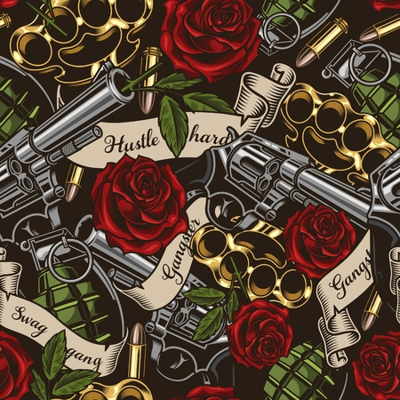 Seamless vector pattern. Vector illustration with revolvers, roses, and ribbons