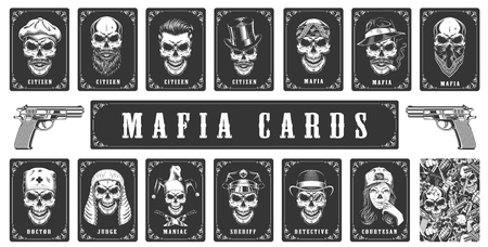 Cards for the mafia game. Vector illustration Standard-Bild - 114773367