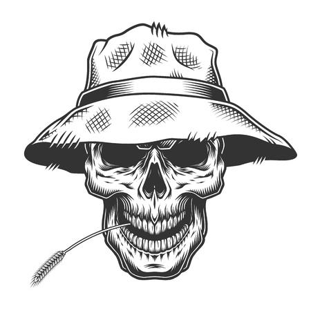 Teschio nel cappello di paglia