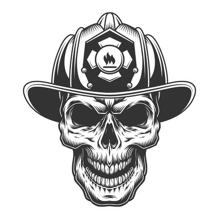 Schädel im Feuerwehrhelm