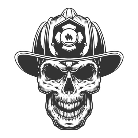 Skull in the firefighter helmet