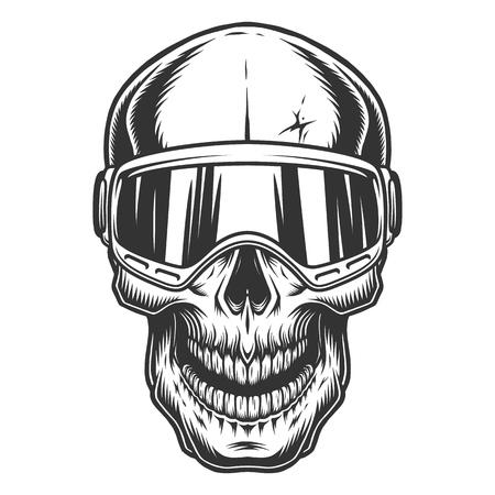 Skull in the ski glasses. Vector vintage illustration