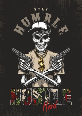Skeleton gangster with guns in t-shirt. Vector poster illustration Stock Photo