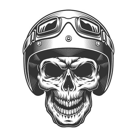 Skull in the moto helmet. Vector vintage illustration