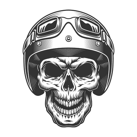 Skull in the moto helmet. Vector vintage illustration