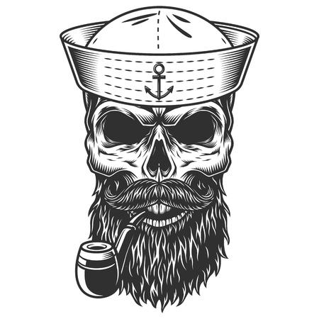 Calavera con barba y pipa Ilustración de vector