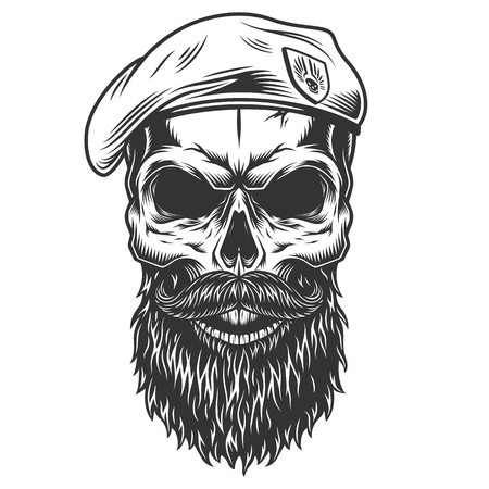 Skull with beard Çizim